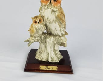 Vintage Signed Pucci Owls Figurine On Wood Stand Home Decor Collectible