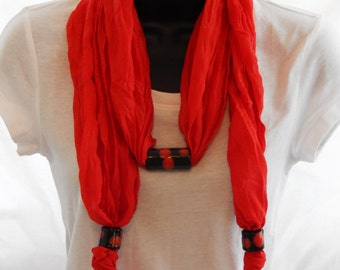 Artisan Scarf with Necklace - Wearable Art Scarf Jewelry - Teachers Christmas Gift - Red Scarf Necklace - Fashion Scarf for Women