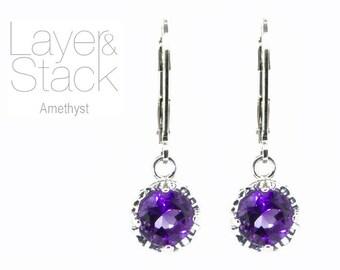 Layer & Stack Amethyst Sterling Silver Drop Earrings