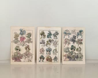 c. 19th C - HAT FASHION PRINTS -  original 19th century french fashion engravings - set of 3 hand colored prints - Millinery prints