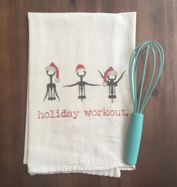 Items similar to Holiday Workout Flour Sack Tea Towel on Etsy