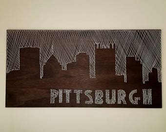 Pittsburgh city skyline string art
