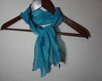 Vintage Women's Rectangular Blue Sheer Chiffon Polyester Hair or Neck Scarf
