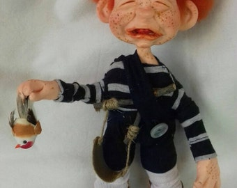 Dourick Freckled Boy Doll -  ginger doll - boy doll - freckled - freckles - polymer clay doll - clay doll - ooak doll - ginger gifts - cry