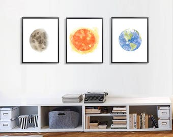 Set Of 3 Prints, Planet Poster, Sun Moon Earth Painting Print, Living Room  Wall Art, Watercolor Prints Home Decor