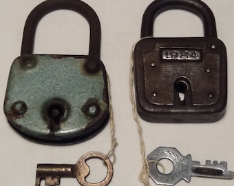 Two Vintage Metal Padlocks with Keys