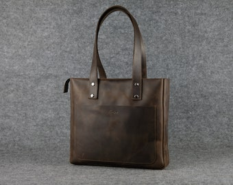 Women's casual tote bag / Shopping bag Leather Bag Leather tote bag Women's handbag Leather shopping bags Women leather bags Gift for women