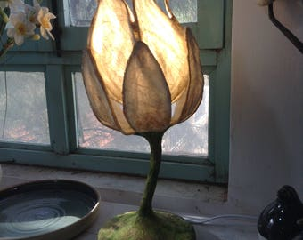 Items similar to paper flower lamp designed paper table lamp paper handmade paper flower lamp paper table lamp paper mache desk lamp soft atmosphere mightylinksfo Gallery