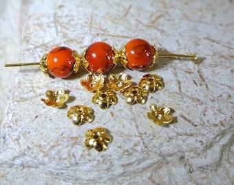 100 bead caps-gold flower shaped 5-petal beads, 7 x 6 mm, hole: 1 mm
