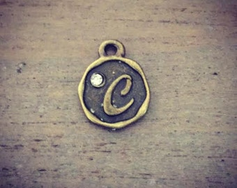 C Charm, Letter C, Alphabet charms, bronze , tiny letter charm, personalized USA charms