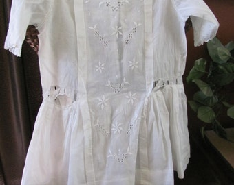 Antique Victorian White Girls Dress Cotton Lace