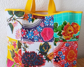 Large multicolored oilcloth tote bag