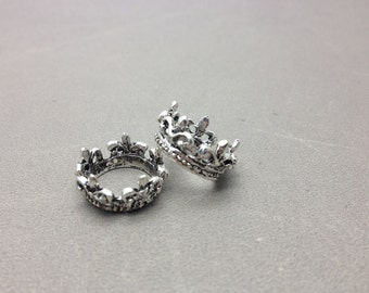 10 pcs of Antique Silver Crown Ring Charms 10mmx17mm