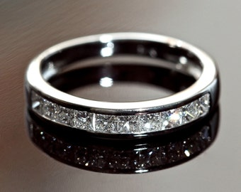 Diamond Wedding Ring. 2ct Diamond Ring 18k White Gold. Half Eternity Princess Cut Diamond Wedding Band, Diamond Engagement Ring