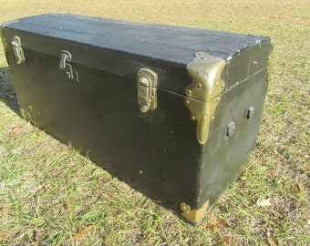 Antique Model T Trunk, Ford Rumble Seat Trunk, Touring Car Trunk, Black Car Trunk, Antique Chest, Storage Box, BB&B Trunk Company