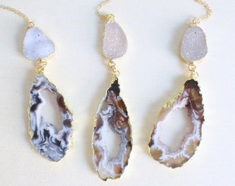 Gold Geode Druzy Necklace / Boho Stone Necklace / Geode Slice / Raw Crystal Necklace / Geode Half / Gift for Her / Christmas Gift