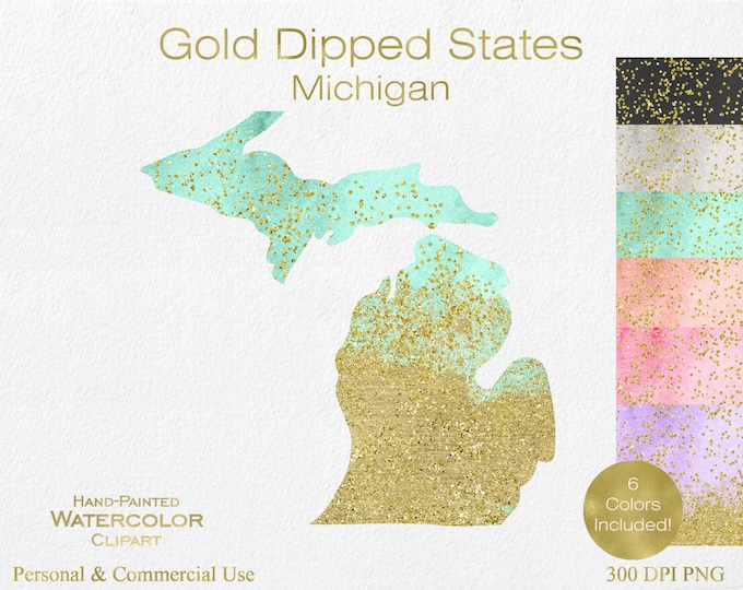 WATERCOLOR & GOLD MICHIGAN Clipart Commercial Use Clipart United States Shape Wedding Clipart Gold Confetti Dust Michigan Clip Art Graphics