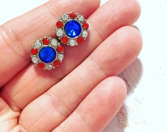 Fancy Acrylic Rhinestone Button Stud Earrings in Red White and Blue with Surgical Steel Studs, Patriotic Independence Day Earrings (SE14)
