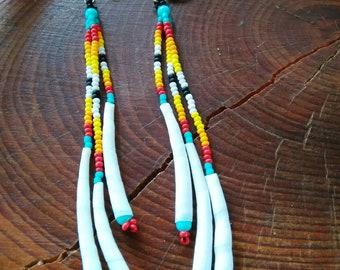 Native American Earrings, Beaded Native American Earrings, Cherokee Made Earrings  tsalagi