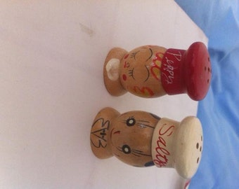Vintage Wooden Salty and Peppy Dispensers