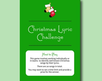 Christmas Lyric Challenge - Fun Christmas Entertainment, Printable Christmas Games Printable Christmas Lyric Game Christmas music quiz