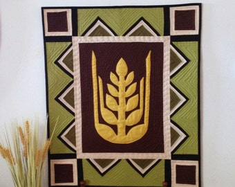 Modern, Amish Wheat Quilted Wall  Hanging