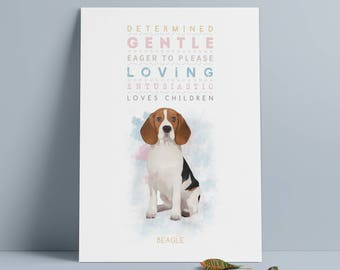BEAGLE Dog: Trait Print - Breed Personality Poster Dog Print - Gift Pet Lovers Archival Watercolour Art PRINT