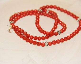 Full-bodied and silver necklace with red coral sterling (c502)