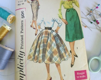 Vintage Pattern, Vintage Skirt Pattern, Skirt, 50s Skirt Pattern, 50s Pattern, Circle Skirt Pattern, Pencil Skirt Pattern, Simplicity, 2654