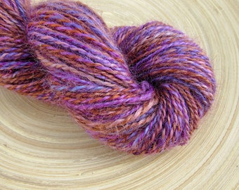 Handspun yarn - wensleydale wool hand dyed - 2 ply - 100 grams 177 yards