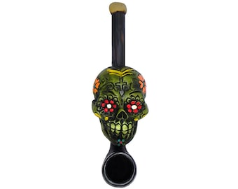 Day of the Dead Lime Green Sugar Skull Handmade Tobacco Smoking Small Hand Pipe