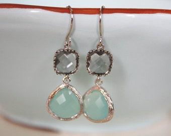 Aqua Earrings, Gray Earrings, Dangle Earrings, Bridesmaids Earrings, Light Blue Wedding, Best Friend Gifts, Wedding Jewelry, Birthday Gift