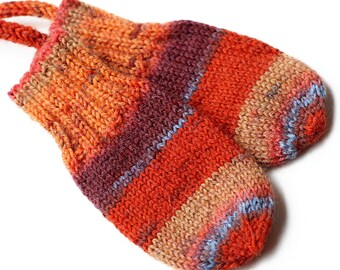 Orange Stripe Thumbless Baby Mittens. Corded Baby Mitts No Thumbs. Infant Hand Warmers. Striped Winter Mittens With or Without String