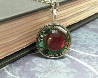 Round Geek Circuit Board Red Gemstone Pendant