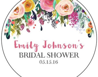 floral bridal shower stickers, watercolor flower bridal shower stickers, custom flower bridal shower labels, flower banner bridal stickers