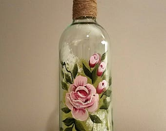 Wine Bottle Light - Pink Roses