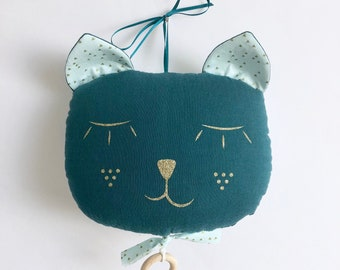 Mobile Musical cat gauze cotton blue duck - Mint gold Triangles - music box - a star in my cabin