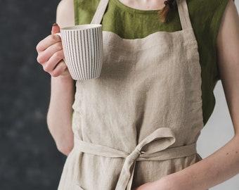 Bib Linen Apron / Washed Long Linen Apron / Linen Pinafore / Apron for Women and Men / Kitchen Linen Apron / Natural Soft Apron / Full Apron