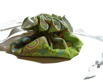 Travel Jewelry Pouch, Drawstring, Green and Yellow Multicolor Floral Print