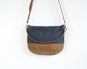 Canvas Cross Body Bag - NEVIS -  Navy Blue and Tan - Zip Top  Waxed Canvas  Adjustable Leather Shoulder Bag byHOLMgoods