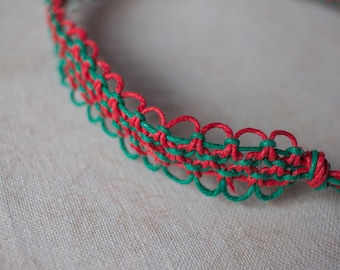 15 inch Red and Green hemp necklace