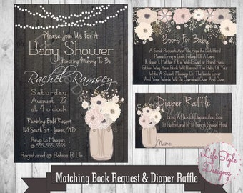 Rustic Baby Shower Invitation - Mason Jar - Flowers- Shabby Chic -Vintage Baby Shower - Diaper Party- Celebrate Mommy To Be- Printable