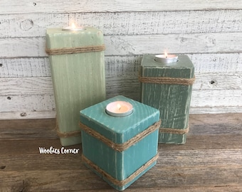 Wood candle centerpiece, Wooden candle holder, Tea light holder, Wood tea light set, Rustic candle centerpiece, Wood candle holder,
