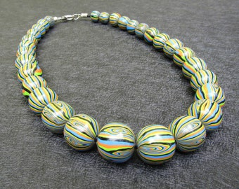 Harlequin polymer clay beaded necklace. Choker. Fancy Pendentif.Collier.