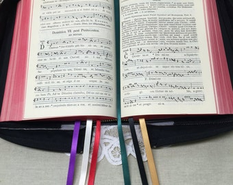 UPGRADE add ribbon bookmarks to a missal cover from my shop