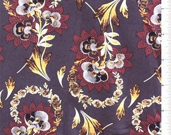 Plum Stylized Floral Jersey Knit, Fabric By The Yard