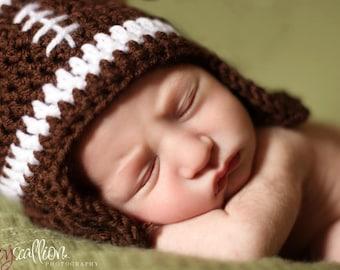 Newborn Football Hat, Baby Boy Football Hat, Baby Girl Football Hat, Crochet Football Hat, Football Baby Hat Photo Prop