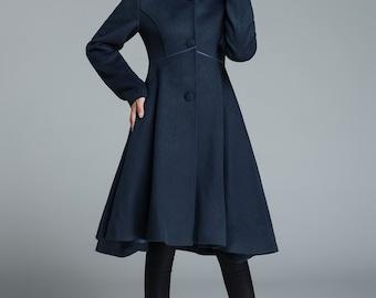 Long jacket, blue coat, elegant coat, wool coat, hooded jacket, warm coat, handmade coat, long sleeves coat, gift for her 1648