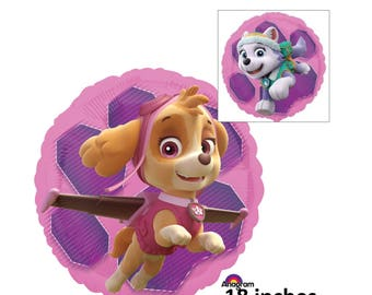 Paw Patrol Skye and Everest balloon, childrens birthday decorations, party supplies, pink, purple, girls, dogs, puppies, kids, pets, helium