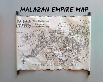 Malazan Empire Map Seven Cities Map on Handmade Scroll